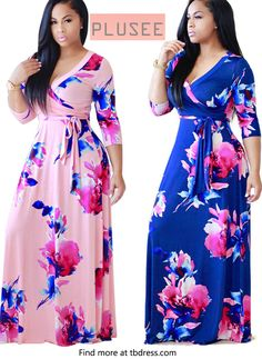 [Plusee] Half Sleeve Ruffle Flowers Women's Maxi Dress