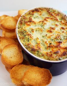 The Comfort of Cooking » Hot Cheesy Spinach-Artichoke Dip --with cream cheese, some low fat mayo, and sour cream