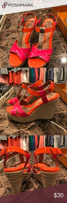 Cute wedges Excellent condition! Fun bright colors of orange, pink, and gold! Very comfortable wedges!!! Shoes Wedges