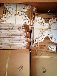 DIY bridal shower invitations! Brown cardstock, twine, doily and envelopes!