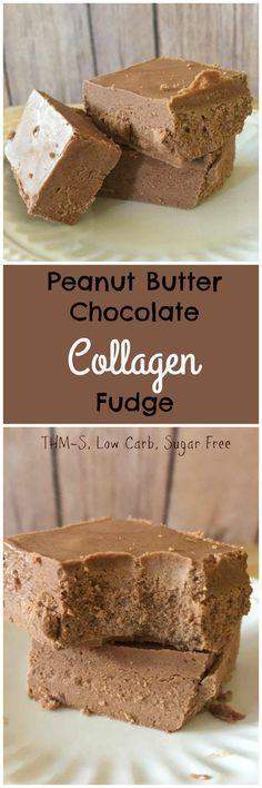 Low Carb, Sugar Free Peanut Butter Chocolate Collagen Fudge - THM-S paleo dessert peanut butter Low Carb Candy, Low Carb Sweets, Low Carb Desserts, Healthy Sweets, Thm Recipes, Fudge Recipes, Dessert Recipes, Healthy Recipes, Paleo Dessert