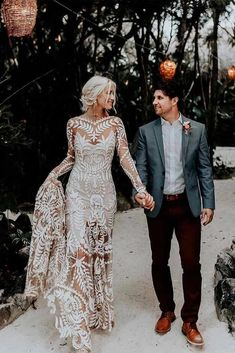 30 Boho Wedding Dress Options To Blow Everyone Away (Updated - Hochzeit un. - 30 Boho Wedding Dress Options To Blow Everyone Away (Updated – Hochzeit und Braut - Boho Wedding Hair, Elegant Wedding Dress, Designer Wedding Dresses, Viking Wedding Dress, Backless Wedding Dress With Sleeves, After Wedding Dress, Long Sleeve Wedding Dress Boho, Wedding Dress Patterns, Bridal Gowns
