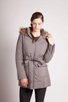 Modern Eternity Mid-thigh length Jacket with fur trim hood - Grey  $125.00