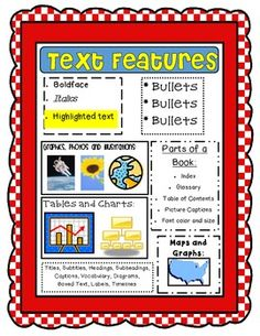 Text Features #Freebie! #CCSS !!