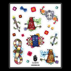 Celebrate the nerd in you with this dorky Doctor Who themed traditional water color looking stickers featuring sonic screwdrivers, cybermen, daleks and the Tardis!