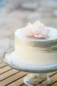 White Minimalist Wedding Cake with Silver Metallic Brushing