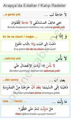Arapça Edatlar (Kalıp ifadeleri)