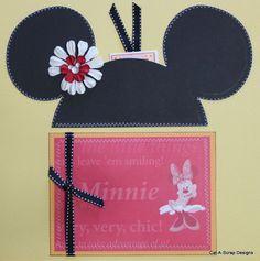 SEWN PREMADE Scrapbook Page 12x12 Layout DISNEY Mickey Minnie Mouse * MSND Jenn
