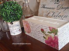 Caja decorada con decoupage, transfer y pasta relieve