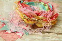yellow pink aqua vintage handmade flower headband by JElisynBoutique, $30.00