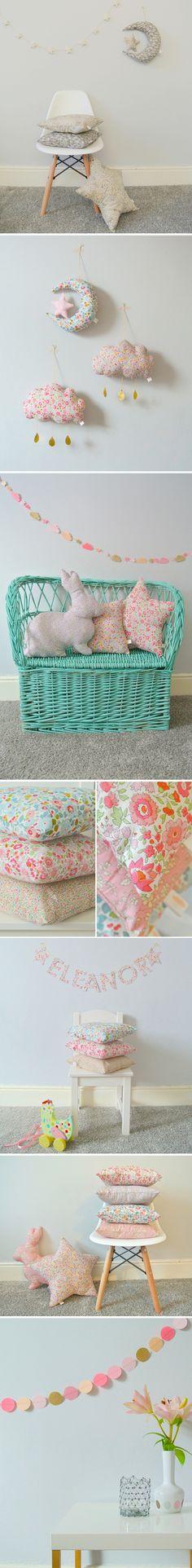 Beautiful pillows, garlands and softies for a kids room or nursery. Little Cloud | #decor #kids #nursery