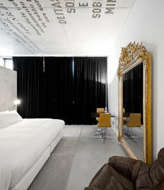 M Ir R O Ceiling Black Curtains Bedroom White Decor