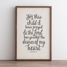 For This Child I Have Prayed - Framed Wall Board : 1 Samuel :: DaySpring Baby Shower Gifts, Baby Gifts, God Answers Prayers, 1 Samuel 1 27, Adoption Party, Adoption Shower, Nursery Inspiration, Nursery Ideas, Nursery Decor