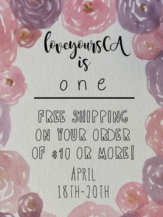 LoveyoursCA is ONE year old today.   To celebrate I'm offering free shipping on your order of $10 or more until Friday!! There is also currently a sale in the shop of 20% off your $10 order which runs until May 13th! Take advantage of both sales while you can!!   https://www.etsy.com/ca/shop/LoveYoursCA