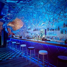 Boasting square feet of space, the Doboz Bar is located in Budapest, Hungary, within the city's vibrant entertainment quarter. Budapest Restaurant, Restaurant Design, Restaurant Bar, Budapest Nightlife, Night Club, Night Life, Underwater Restaurant, Neon Rouge, Neon Bleu