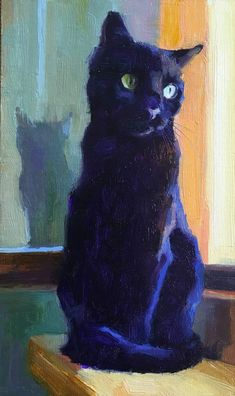 von Katya Minkina Oil ~ 10 x 6 - Katzenrassen Beautiful Cats Black Cat Painting, Black Cat Art, Black Cats, Art And Illustration, Art Illustrations, Cat Drawing, Art Plastique, Animal Paintings, Pet Portraits