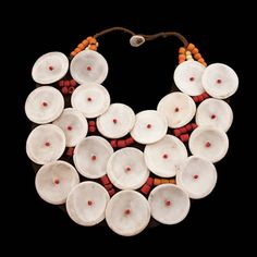 suchasensualdestroyer:    Northeast India, Necklace, shell/beads/leather, c. 1960.