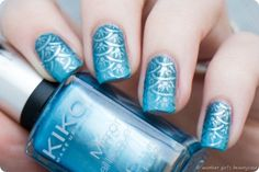 Clairestelle8Sept Nailart Challenge Mermaid Stamping Gradient Blue Scales-5