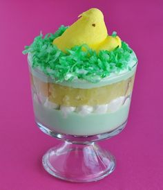 peeps chicken pistachio pudding cup