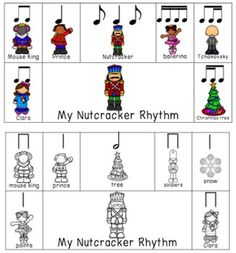 My Nutcracker Rhythm Composition Activity allows students to compose 4 beat patterns with nutcracker characters/objects. Includes beginner and advanced kits. Copy on card stock, laminate, and cut along the lines.