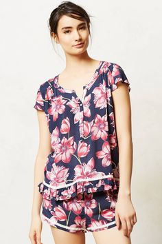 Camellia Sleep Top - anthropologie