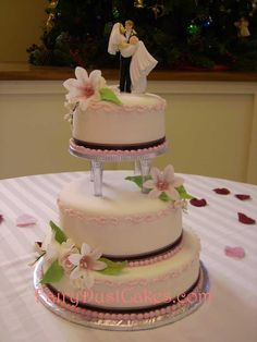 3 Tier Wedding Cake With Pink Accents And Clear Columns From Fairy Dust Cakes