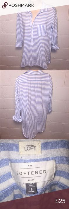 The loft softened shirt pinstripe button down Good condition.  No stains, tears, or holes  •I bundle & discount bundles •If an item is higher than you want to pay, message an offer or favorite & wait for price to drop weekly.  •My mannequin is Xsm so sometimes items appear loose or I clip back for actual look/fit •Usually ships within 24 hrs and latest 48 hours unless otherwise noted.  •Some of my items are various sizes because I sell for sister as well. #pinstripe #buttondown LOFT Tops…