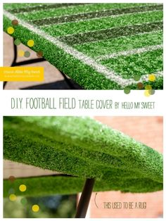 DIY Football Field Table Cover for Super Bowl Party www.spaceshipsandlaserbeams.com