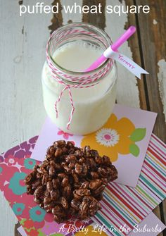 """puffed wheat square from """"a pretty life in the suburbs""""  http://www.aprettylifeinthesuburbs.com/2012/05/puffed-wheat-square.html"""