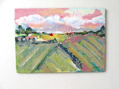 Acrylic Landscape painting 5 x 7 pastel Original by BrookeHowie