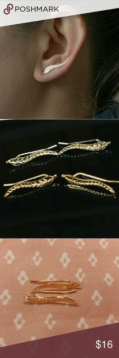Leaf Ear Climber earring > gold or silver tone > alloy  > new > bundle & save > use offer button Jewelry Earrings