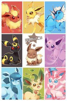 Eevee and its eeveelutions are probably some of my favorite pokemon. Pokemon Fusion, Gif Pokemon, Pokemon Fan, Pokemon Store, Pokemon Cards, Pokemon Poster, Pikachu Pikachu, Digimon, Pokémon Kawaii