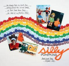 Silly Pumpkins Rainbow Scrapbook Layout Page Idea using Pumpkin Chain Border Maker Cartridge from Creative Memories