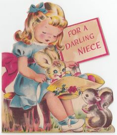 Vintage Greeting Card Easter Die Cut Cute Girl Bunny Double Wish Norcross J860 | eBay