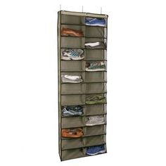 """Over-door shoe organizer in khaki. Holds twenty-six shoes.  Product: Shoe organizerConstruction Material: Polyester and vinylColor: KhakiDimensions: 63"""" H x 22"""" W x 6"""" D"""