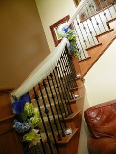 Wedding staircase decoration ideas bing images wedding tulle wedding staircase maybe something like this to hide the ugly brass railings at the country junglespirit Image collections