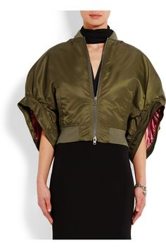 Givenchy | Cropped bomber jacket in army-green satin | NET-A-PORTER.COM