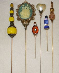 6 Antique style Victorian Hat Pins with vintage and antique pieces