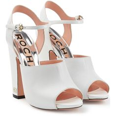 Rochas Boxcalf Sandals (685 CAD) ❤ liked on Polyvore featuring shoes, sandals, heels, white, white sandals, white chunky heel sandals, white heeled sandals, ankle strap platform sandals and white platform sandals
