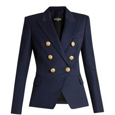 Balmain Six-button double-breasted wool blazer (6,370 SAR) ❤ liked on Polyvore featuring outerwear, jackets, blazers, navy, navy blue wool blazer, navy wool blazer, blue wool blazer, blue jackets and balmain jacket