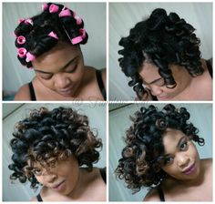 Perm rods on natural hair using Lottabody foaming lotion. .. @_fabulousnat on IG