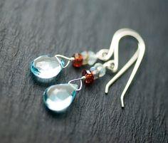 Sky Blue Topaz Garnet Labradorite Aquamarine Sterling Silver Earrings - AAA Grade, Light Blue, Gemstone, Dangle, November, March - Stratus via Etsy