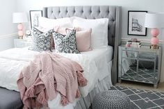 I am so excited to finally share my room reveal with you all! It has been one of my most requested posts! I hope this gives you a little room inspiration! Blush Bedroom, Gray Bedroom, Home Decor Bedroom, Bedroom Wall, Bedroom Ideas, King Comforter Sets, Dream Rooms, Beautiful Bedrooms, House Rooms