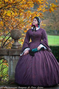 1860 Civil War era day dress, crinoline style, by Prior Attire