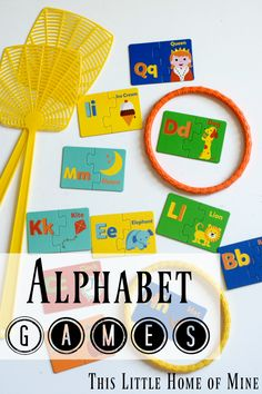 Check out two new Alphabet Games: Swat the Letter & Ring Around the Letter - Details and Directions by This Little Home of Mine Learning Games For Kids, Games For Toddlers, Preschool Activities, Educational Activities, Learning Express, Alphabet Coloring Pages, Tracing Letters, Spanish Language Learning, Letter Recognition