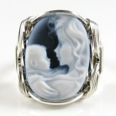 Mom Babe Black Agate Oval Stone Cameo Ring .925 Sterling Silver Jewelry Any Size in Jewelry & Watches, Fashion Jewelry, Rings | eBay