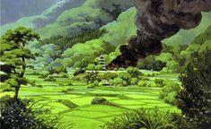 """Princess Mononoke もののけ姫"" by 山本二三 Nizō Yamamoto* Backgrounds Art | © Studio Ghibli* • Blog/Website | (www.ghibli.jp)"