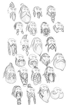 Dwarf Beard Sketches 2 by on DeviantArt - fantasy dwarven relief Cartoon Drawings, Drawing Sketches, Drawing Art, Drawing Ideas, Fantasy Dwarf, Realistic Eye Drawing, Poses References, Art Reference Poses, Character Design References