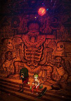 The Art Of Animation, Uetsuji Shotaro Art And Illustration, Arte Inspo, Alien Encounters, Fantasy Inspiration, Art Plastique, Cool Artwork, Dark Art, Cute Drawings, Pixel Art