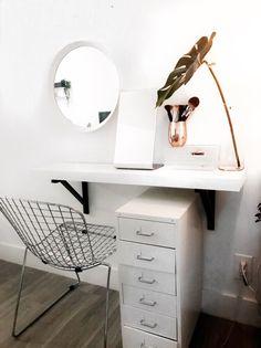 My new minimal vanity table using the ikea lack shelf #vanity #decor #ikeahacks #minimal #scandinavian #simple #vanitydesk #makeuptable #table